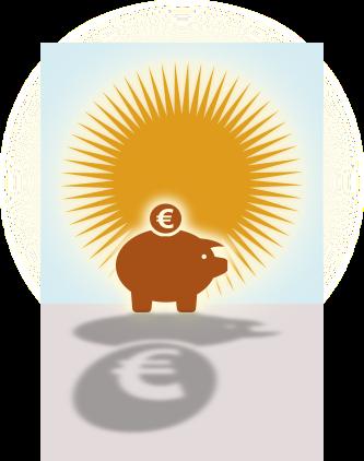 Hucha con dinero delante del sol